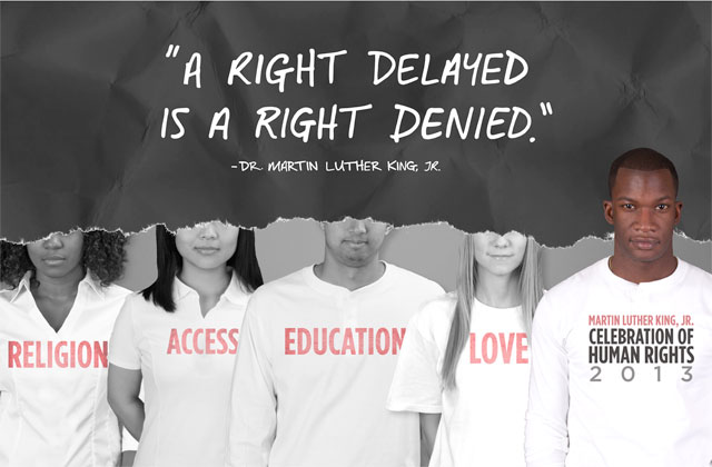 "Poster art with quote reading ""A right delayed is a right denied."""