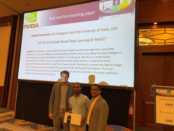 Aniket Pramanik, Hemant Aggarwal, and Mathews Jacob won Best Machine Learning Paper at the International Symposium on Biomedical Imaging recently in Venice, Italy.