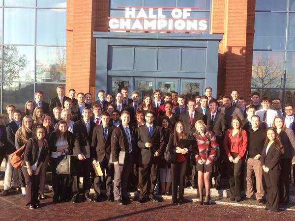 Students pose outside the NCAA