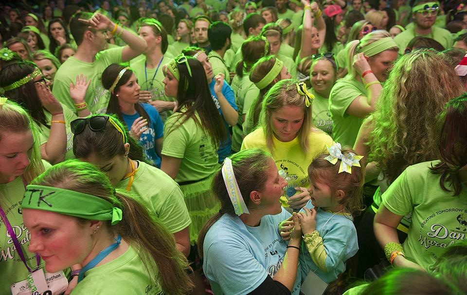 Dancers and kids at Dance Marathon