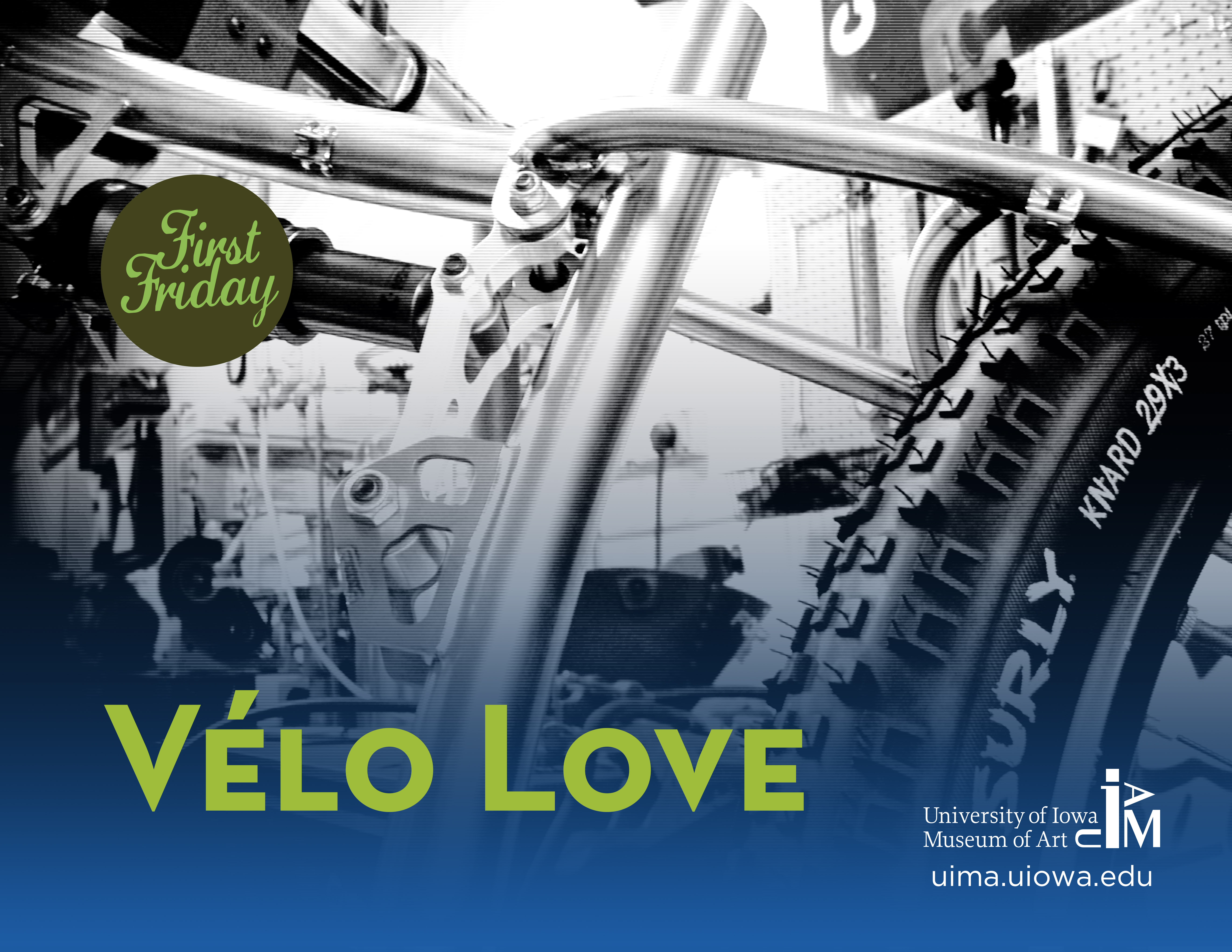 """A close up photo of a portion of a bicycle with the words """"Vélo Love"""" superimposed on the photo"""