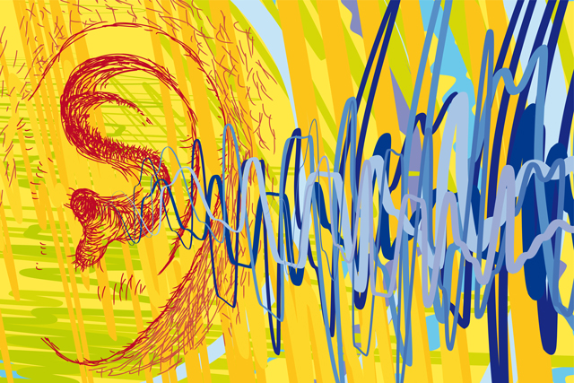 illustration of sound waves next to a human ear