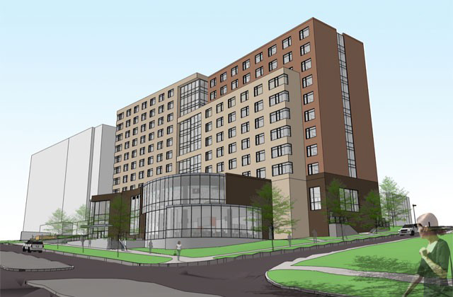 Architectural rendering--Eye level view from Grand Avenue of new west campus residence hall