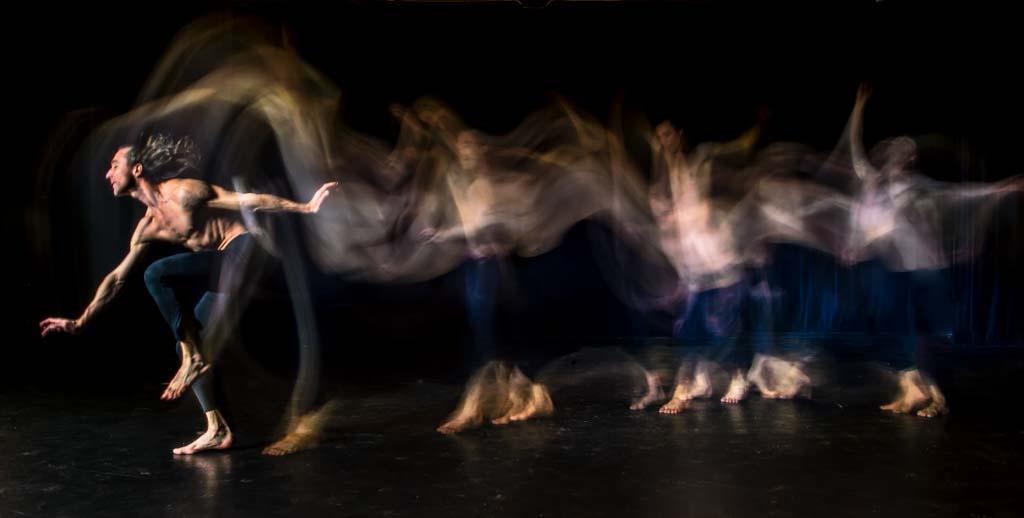 Photo of dancer using light painting technique