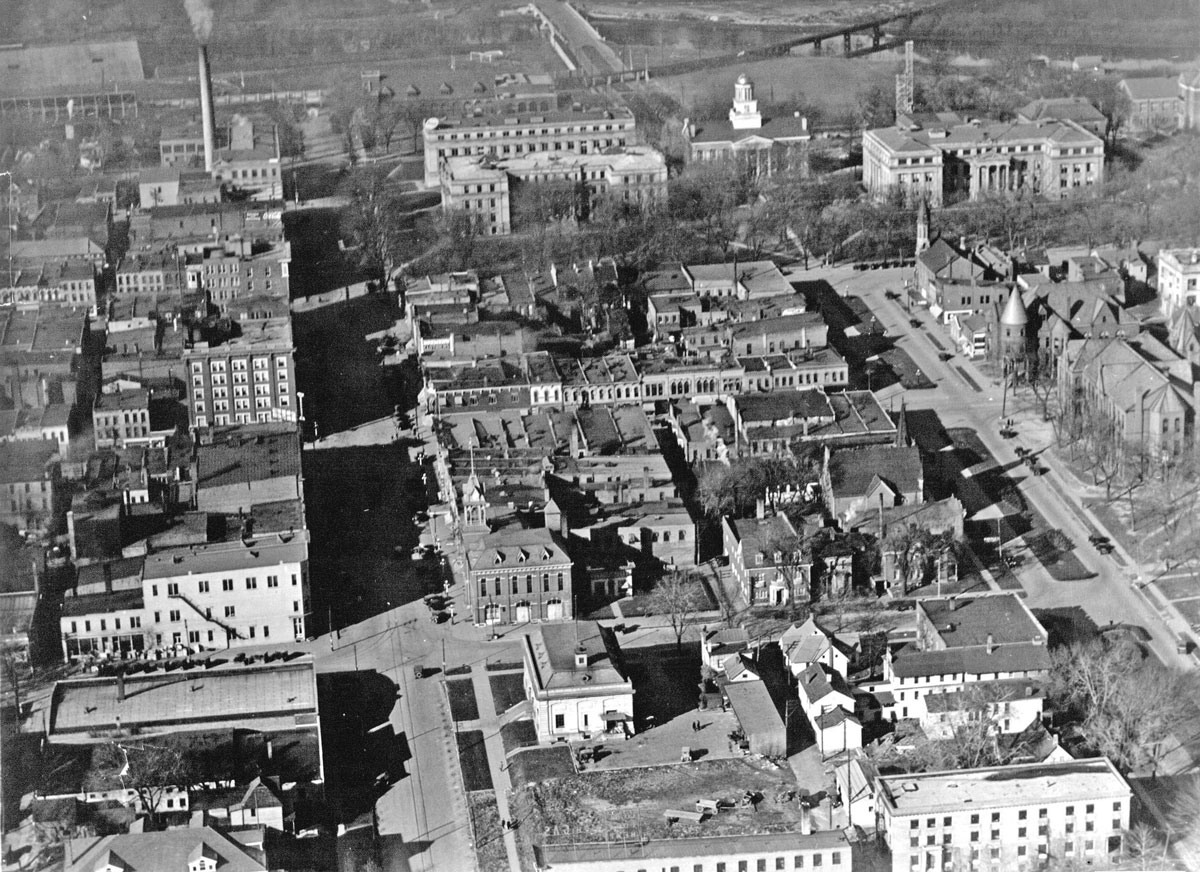 Black And White Aerial View Of Downtown Iowa City In 1923