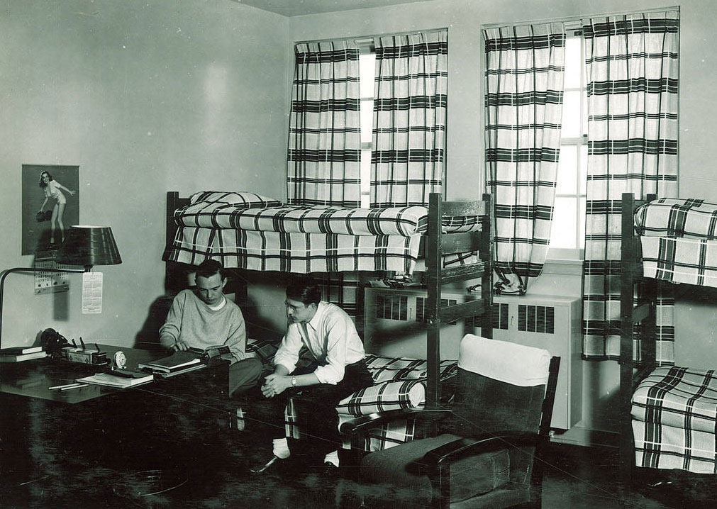 Black And White Image Of Two Men Seated In Quadrangle Room Part 48