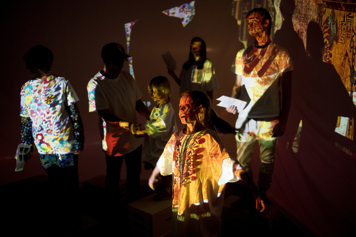 art projected on participants