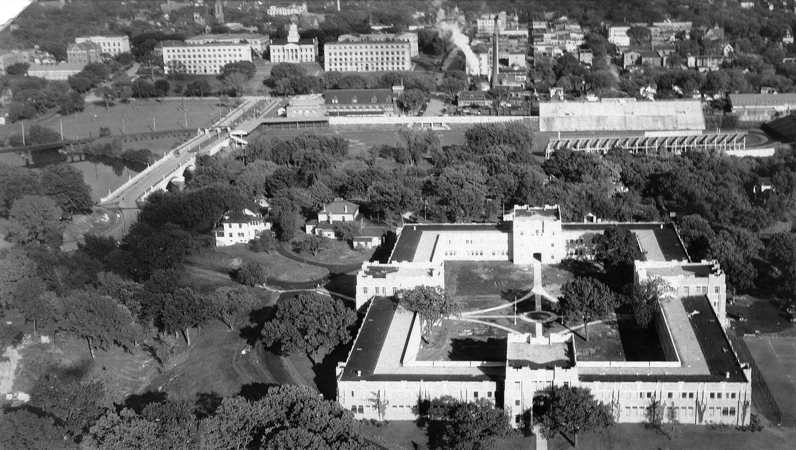 historic aerial view of Quadrangle