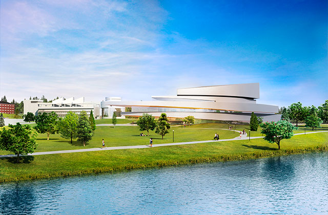 architectural rendering of the new Hancher