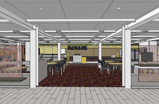 Architectural rendering of the food for thought cafe in the main library renovation