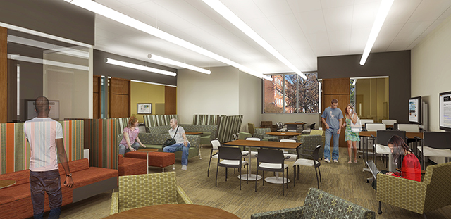 A study room in the learning commons of the new West Campus Residence Hall. Architectural renderings by Rohrbach Associates PC.