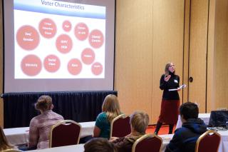 faculty presenting voter characteristics in presentation.