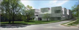 a rendering of the new art building, looking west