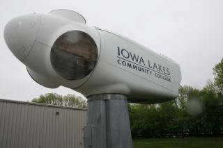 The nacelle, or housing, on a typical wind turbine is the size of a school bus. This nacelle is a demonstration tool at Iowa Lakes Community College in Estherville,