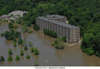 Aerial view of Mayflower Hall during the 2008 flood