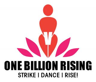 Logo of One Billion Rising, Strike, Dance, Rise! with sexual assault awareness campaign