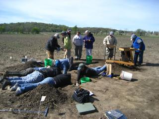 volunteers at the dig site near Amana
