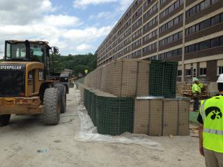 HESCO barriers at Mayflower Residence Hall