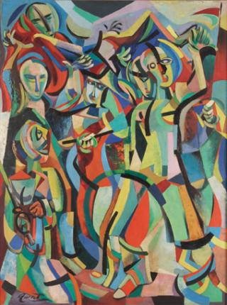 A multi-colored abstract painting of people
