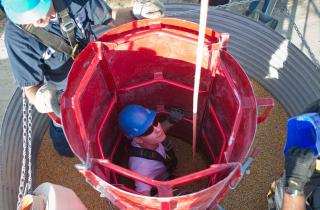 Grain bin safety demonstration