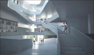 rendering of art building interior