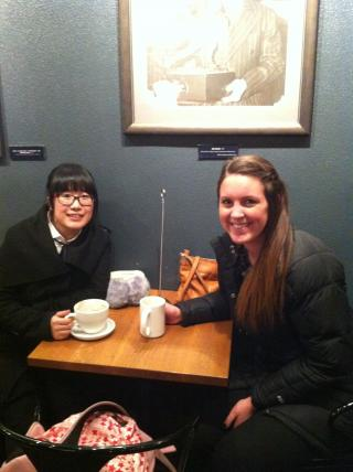 "Yijun ""Alice"" Huang and Jessica Pawelski enjoy a cup of hot chocolate at Java House."
