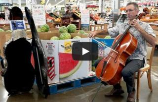 A professor plays the violin in an Iowa City grocery store
