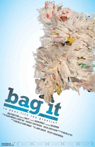 "A movie poster with a big clump of plastic bags and the title of the movie ""Bag It"""