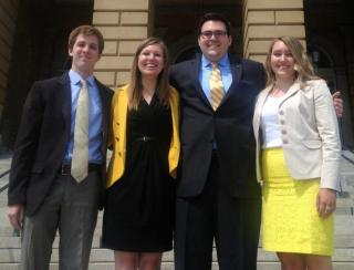 Photo of Jack Cumming (undergrad Vice President), Katherine Valde (undergrad president), Ben Gillig (president of the graduate and professional student body), and Carter Bell (undergrad governmental relations director).