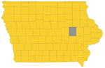 Benton county highlighted on an Iowa map