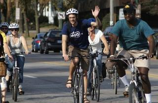 Participants in a campus bicycle ride sponsored by 350.org, an organization that advocates for climate change awareness.