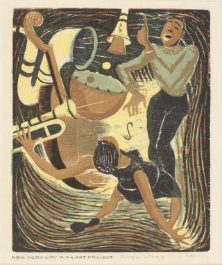 A wood engraving of a woman and man dancing, surrounded by jazz instruments