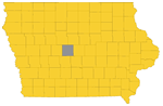 Iowa map with Boone county highlighted
