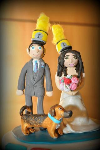 photo of clay wedding cake topper made by Megan Harms