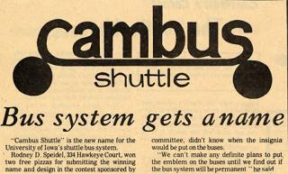 March 24, 1972, Daily Iowan headline announcing campus bus service