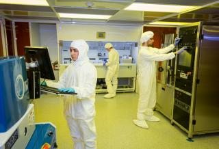 students in a nantechnology clean room