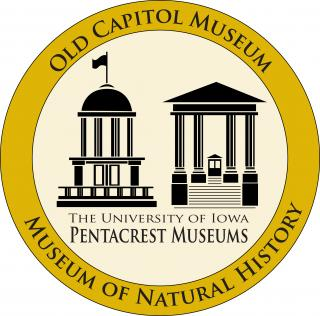 A logo for Old Capitol Museum and the Museum of Natural History with drawings of the Old Capitol dome and the Museum of Natural History entrance