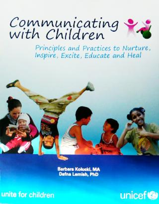 "Cover image of UNICEF ""Communicating with Children"" book"