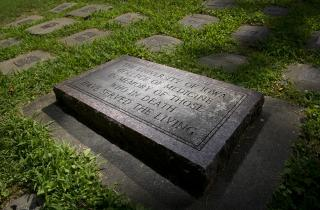 he deeded body memorial at Oakland Cemetery in Iowa City. Photo by Tim Schoon.
