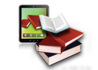 illustration of tablet and a pile of 4 books