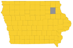 Fayette Country highlighted on Iowa map