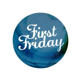 "A circle with the words ""First Friday"" in it."