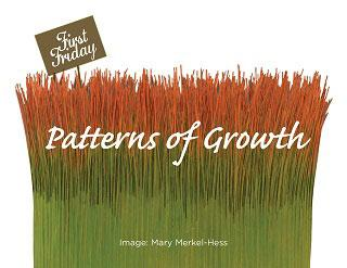 "A photo of grass-like fibers in green and orange with the words ""Patterns of Growth"" superimposed on them."