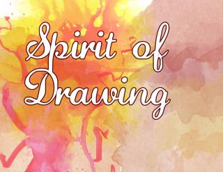 "The words ""Spirit of Drawing"" with a colorful background"