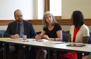 Craig Gibson, Teresa Mangum, and Lena Hill at the first meeting of the Humanities Advisory Board.