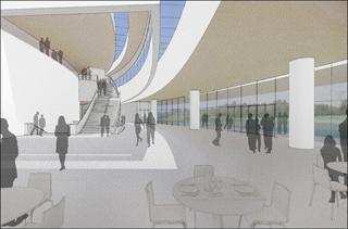 rendering of Hancher Auditorium lobby