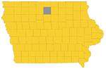 Hancock county highlighted on an Iowa map