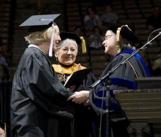 Nancy Hanson receives her degree