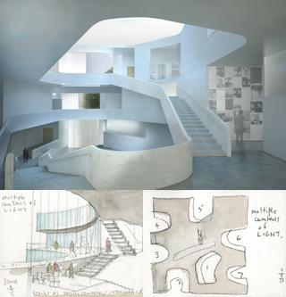 rendering and sketches of Visual Arts Building