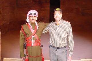 McMullen poses witha policeman in Jordan